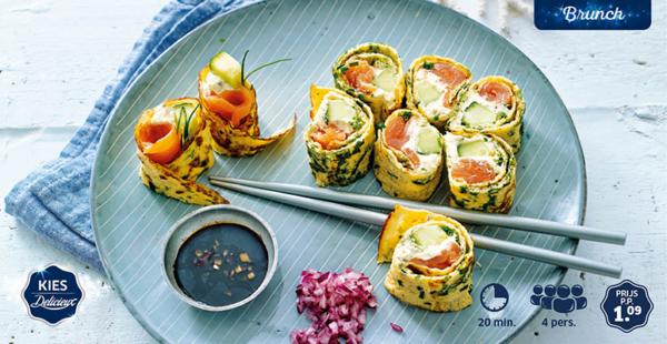 sushiomelet met zalm
